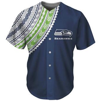 Men's Seattle Seahawks Navy Baseball Jersey