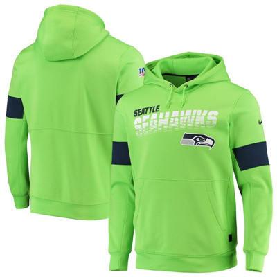 Men's Seattle Seahawks Sideline Team Logo Performance Pullover Hoodie - Neon Green