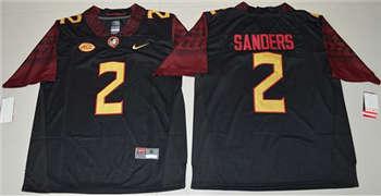 Men's Seminoles #2 Deion Sanders Black Limited Stitched NCAA Limited Jersey