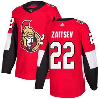 Men's Senators #22 Nikita Zaitsev Red Home Authentic Stitched Hockey Jersey
