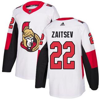 Men's Senators #22 Nikita Zaitsev White Road Authentic Stitched Hockey Jersey