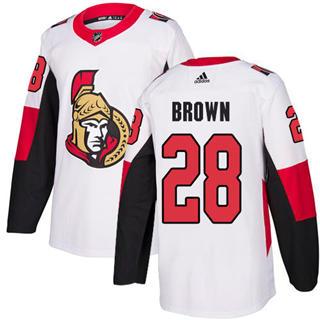 Men's Senators #28 Connor Brown White Road Authentic Stitched Hockey Jersey