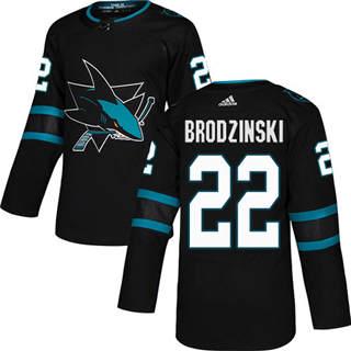 Men's Sharks #22 Jonny Brodzinski Black Alternate Authentic Stitched Hockey Jersey