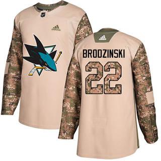 Men's Sharks #22 Jonny Brodzinski Camo Authentic 2017 Veterans Day Stitched Hockey Jersey