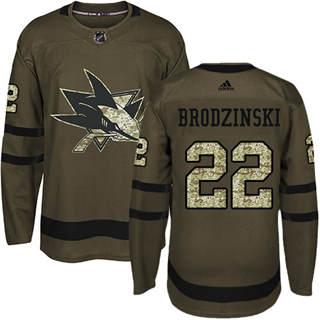 Men's Sharks #22 Jonny Brodzinski Green Salute to Service Stitched Hockey Jersey