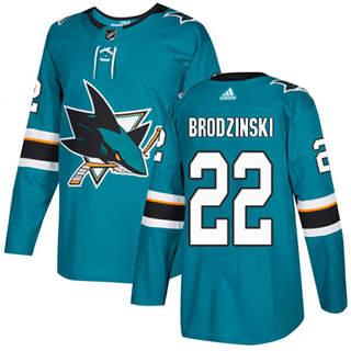 Men's Sharks #22 Jonny Brodzinski Teal Home Authentic Stitched Hockey Jersey