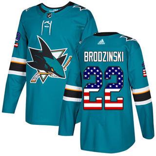 Men's Sharks #22 Jonny Brodzinski Teal Home Authentic USA Flag Stitched Hockey Jersey