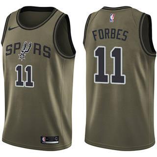 Men's Spurs #11 Bryn Forbes Green Basketball Swingman Salute to Service Jersey