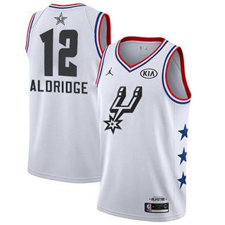 Men's Spurs #12 LaMarcus Aldridge White Basketball Jordan Swingman 2019 All-Star Game Jersey