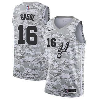 Men's Spurs #16 Pau Gasol White Camo Basketball Swingman Earned Edition Jersey