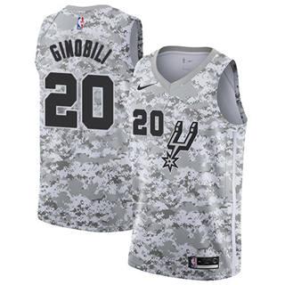 Men's Spurs #20 Manu Ginobili White Camo Basketball Swingman Earned Edition Jersey