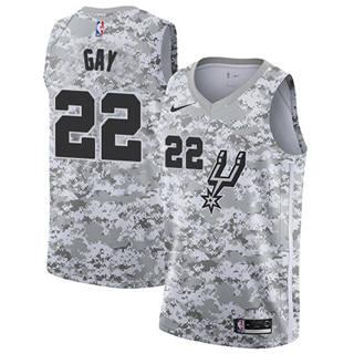 Men's Spurs #22 Rudy Gay White Camo Basketball Swingman Earned Edition Jersey