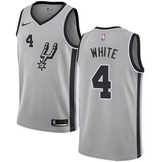 Men's Spurs #4 Derrick White Silver Basketball Swingman Statement Edition Jersey