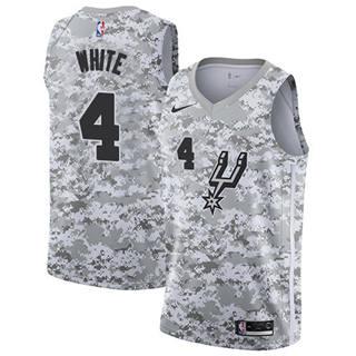 Men's Spurs #4 Derrick White White Camo Basketball Swingman Earned Edition Jersey