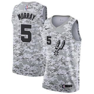 Men's Spurs #5 Dejounte Murray White Camo Basketball Swingman Earned Edition Jersey