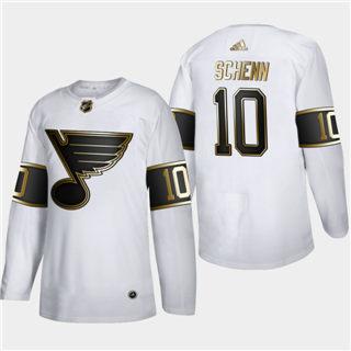 Men's St. Louis Blues #10 Brayden Schenn White Golden Edition Limited Stitched Hockey Jersey