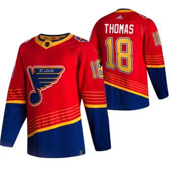Men's St. Louis Blues #18 Robert Thomas Red 2020-21 Reverse Retro Alternate Hockey Jersey