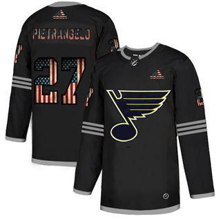 Men's St. Louis Blues #27 Alex Pietrangelo Black USA Flag Limited Hockey Jersey