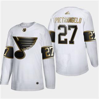 Men's St. Louis Blues #27 Alex Pietrangelo White Golden Edition Limited Stitched Hockey Jersey