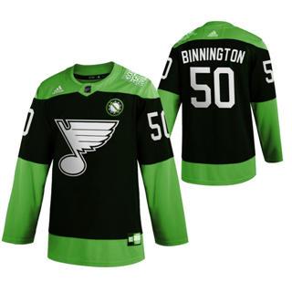 Men's St. Louis Blues #50 Jordan Binnington Green Hockey Fight nCoV Limited Hockey Jersey