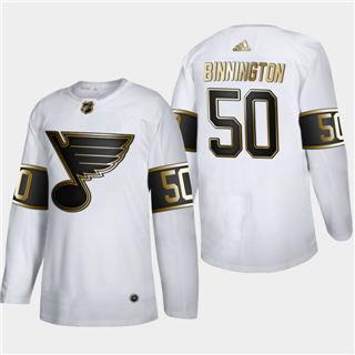 Men's St. Louis Blues #50 Jordan Binnington White Golden Edition Limited Stitched Hockey Jersey