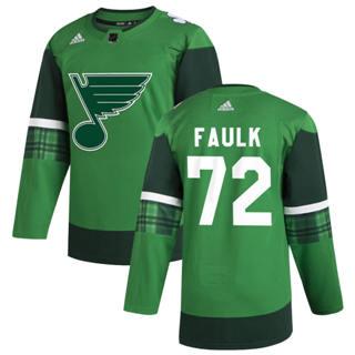 Men's St. Louis Blues #72 Justin Faulk 2020 St. Patrick's Day Stitched Hockey Jersey Green