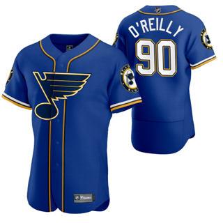 Men's St. Louis Blues #90 Ryan O'Reilly 2020 Hockey x Baseball Crossover Edition Jersey Blue