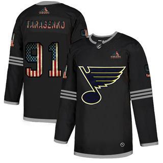Men's St. Louis Blues #91 Vladimir Tarasenko Black USA Flag Limited Hockey Jersey