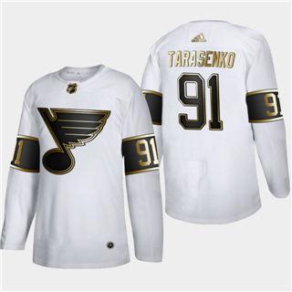 Men's St. Louis Blues #91 Vladimir Tarasenko White Golden Edition Limited Stitched Hockey Jersey