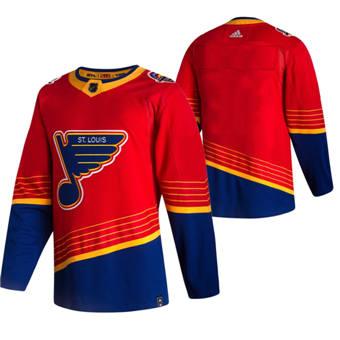 Men's St. Louis Blues Blank Red 2020-21 Reverse Retro Alternate Hockey Jersey