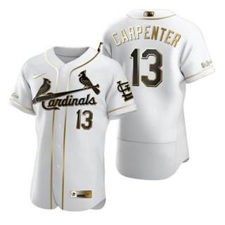 Men's St. Louis Cardinals #13 Matt Carpenter White 2020 Authentic Golden Edition Baseball Jersey