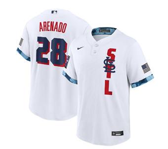 Men's St. Louis Cardinals #28 Nolan Arenado 2021 White All-Star Cool Base Stitched Baseball Jersey