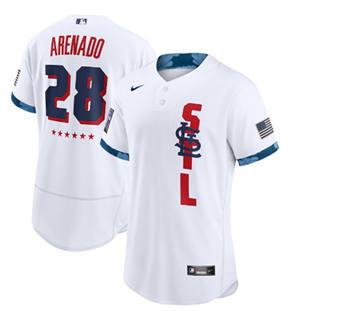Men's St. Louis Cardinals #28 Nolan Arenado 2021 White All-Star Flex Base Stitched Baseball Jersey
