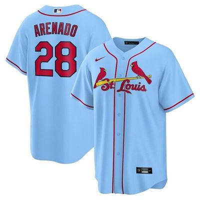 Men's St. Louis Cardinals #28 Nolan Arenado Blue Cool Base Stitched Baseball Jersey