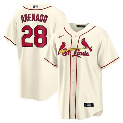 Men's St. Louis Cardinals #28 Nolan Arenado Cream Cool Base Stitched Baseball Jersey