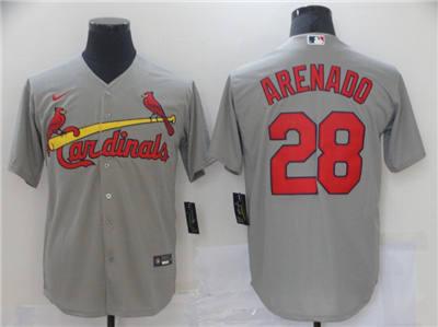 Men's St. Louis Cardinals #28 Nolan Arenado Grey Cool Base Stitched Baseball Jersey