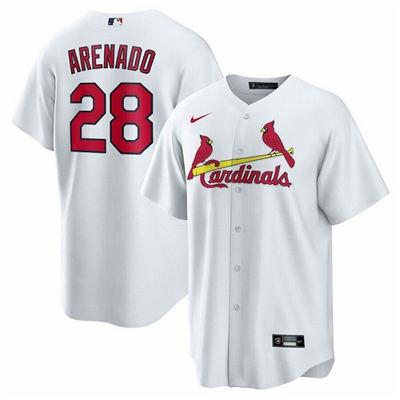 Men's St. Louis Cardinals #28 Nolan Arenado White Cool Base Stitched Baseball Jersey