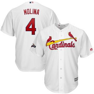 Men's St. Louis Cardinals #4 Yadier Molina 2019 Postseason Official Cool Base Player Jersey White
