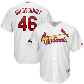 Men's St. Louis Cardinals #46 Paul Goldschmidt 2019 Postseason Official Cool Base Player Jersey White
