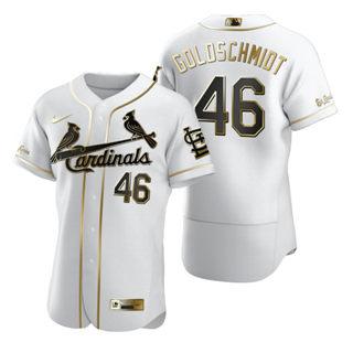 Men's St. Louis Cardinals #46 Paul Goldschmidt White 2020 Authentic Golden Edition Baseball Jersey