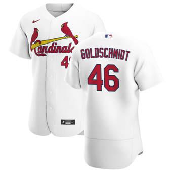 Men's St. Louis Cardinals #46 Paul Goldschmidt White Home 2020 Authentic Player Baseball Jersey