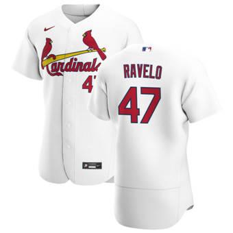 Men's St. Louis Cardinals #47 Rangel Ravelo White Home 2020 Authentic Player Baseball Jersey