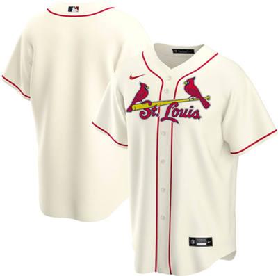 Men's St. Louis Cardinals Blank Cream Cool Base Stitched Baseball Jersey