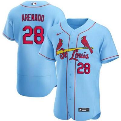 Men's St. Louis Cardinals White #28 Nolan Arenado Blue Flex Base Stitched Baseball Jersey