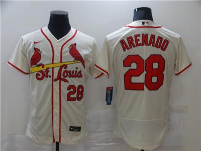 Men's St. Louis Cardinals White #28 Nolan Arenado Cream Flex Base Stitched Baseball Jersey