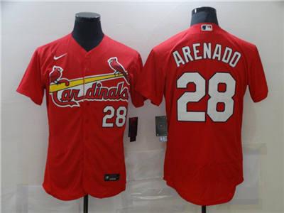Men's St. Louis Cardinals White #28 Nolan Arenado Red Flex Base Stitched Baseball Jersey