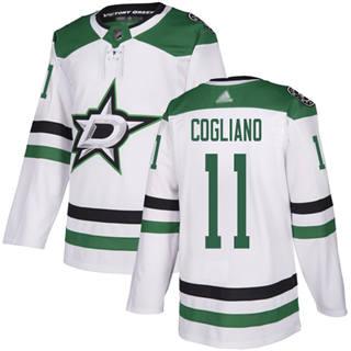 Men's Stars #11 Andrew Cogliano White Road  Stitched Hockey Jersey