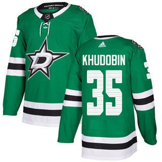 Men's Stars #35 Anton Khudobin Green Home Authentic Stitched Hockey Jersey