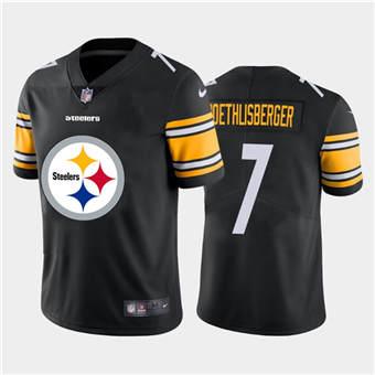 Men's Steelers #7 Ben Roethlisberger Black Football Team Big Logo Fashion Vapor Limited Jersey