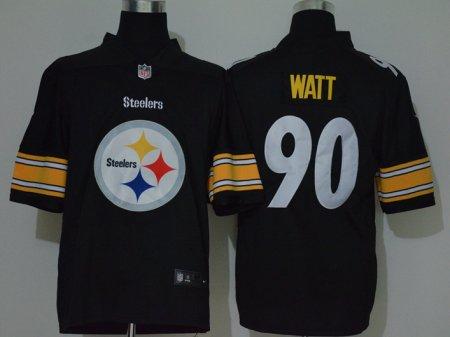 Men's Steelers #90 T.J. Watt Black Football Team Big Logo Fashion Vapor Untouchable Limited Jersey